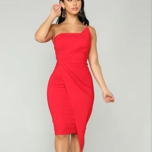 Red Tube Midi Dress